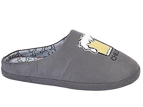 Foster Footwear - Pantofole Novelty Ragazzi uomo donna Grey