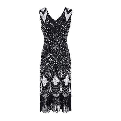 Damen Flapper Kleider Voller Pailletten Retro 1920er Jahre Stil V-Ausschnitt Great Gatsby Motto Party Damen Kostüm Kleid