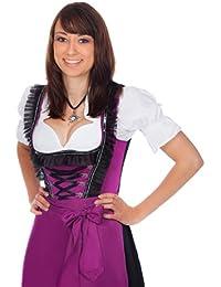 Midi Dirndl 3-tlg. violett schwarz mit passender Bluse und Schürze Gr. 32-60