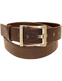 Mens cuir brun véritable ceinture Dans Gift Box - N3104