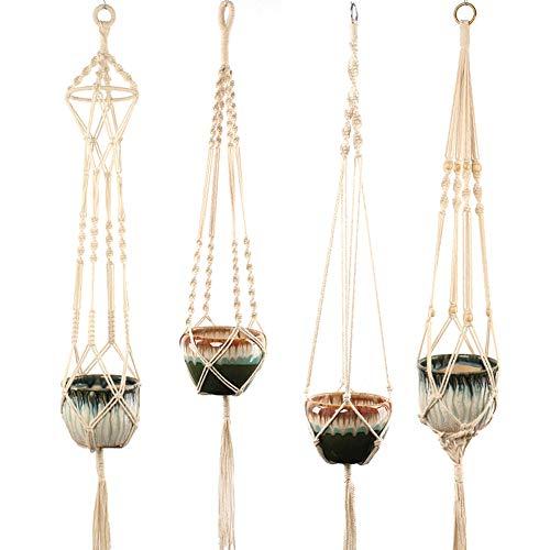 Isimsus set di 4 fioriere macramee in corda di cotone, da appendere, per interni ed esterni, decorazione da parete per balcone – 41 pollici, 4 gambe