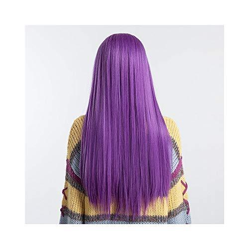 Perücken für Frauen XXYHYQHJD 28 Zoll Gerade Kunsthaar Lace Front Perücke T Teil Lange Haare Perücken for Frauen Mode Cosplay Party Arbeit Perücke (Color : Purple, Wig Length : 28 inch) -
