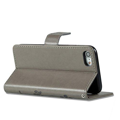 iPhone 8 Hülle Weiß 3D Mariposa Gras PU Leder Wallet Handytasche Flip Etui Schutz Tasche mit Integrierten Card Kartensteckplätzen und Ständer Funktion Für Apple iPhone 8 + Zwei Geschenk grau