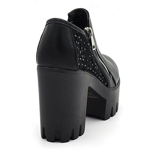 Sconosciuto Fashion Scarpe Donna Ecopelle Zeppa Carro Armato Platform Tronchetti Pizzo Merletto B98 B98 nero