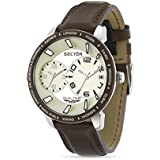 Sector Men's Quartz Watch with Beige Dial Analogue Display and Brown Leather Strap R3251119004