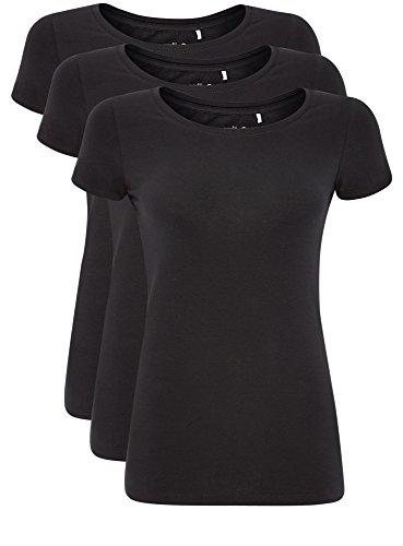 oodji Ultra Damen Tailliertes T-Shirt Basic (3er-Pack), Schwarz, DE 38/EU 40/M