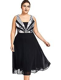 YTJH Mujer Vestido con Lentejuelas Brillantes Vestido de Fiésta con Cuello de Trapecio Vistido Causal sin