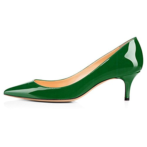EKS Frauen 6CM Spitz Kitten Heel Lackleder Kleid Party Pumps Schuhe Arbeitsschuhe Grün EU 40 (Ferse Der Damen-grün Mitte)