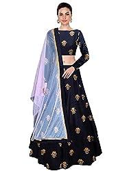 Shree Impex Womens Embroidered Taffeta Silk Semi Stitched Lehenga Choli (Free Size) (Navy Blue)