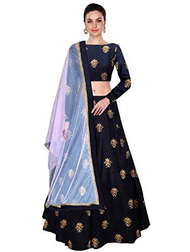 Shree Impex Women's Embroidered Taffeta Silk Semi Stitched Lehenga Choli (Free Size) (Navy Blue)