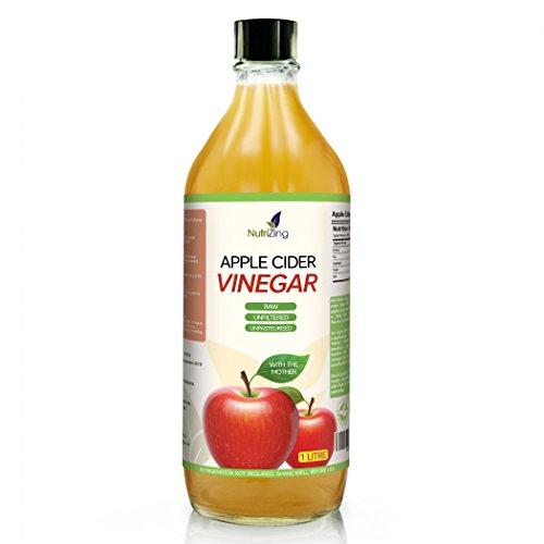 """NutriZing Vinagre de Sidra de Manzana ~ Contiene Madre ~ Procedente de Manzanas Escocesas ~ Puro, Crudo, No Filtrado, No Pasteurizado y""""Vivo"""" ~ Botella de 1 Litro"""