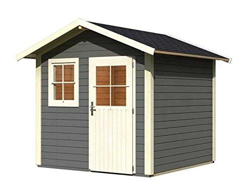 Karibu Gartenhaus Linau 5 terragrau 28 mm inkl. Schindeln schwarz Außenmaß (B x T): 244 x 244 cm...