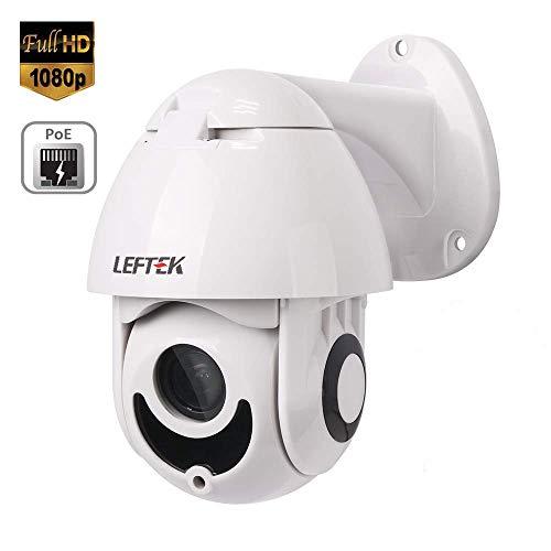 LEFTEK 2MP Mini PoE PTZ Kamera Pan Tilt Zoom Netzwerk Dome Kamera Outdoor PTZ Dome IP Kamera Überwachungskamera mit Wandhalterung 1080p Full HD 3X Optischer IR ONVIF H.265 Ir-dome-ip-kamera