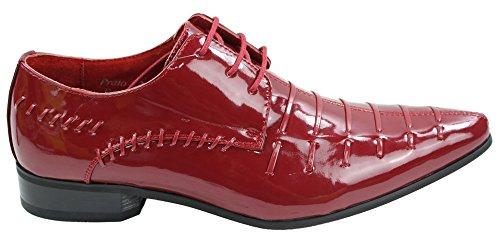 Herrenschuhe Italienisches Design Schwarz Rot Geschnürt Glänzend Formell Lässig 40