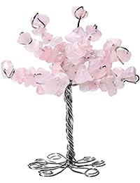 qgem natur rosenquarz edelstein trommelsteine glcksbaum geldbaum im bro tisch deko feng shui healing baum des - Dekoration Baum