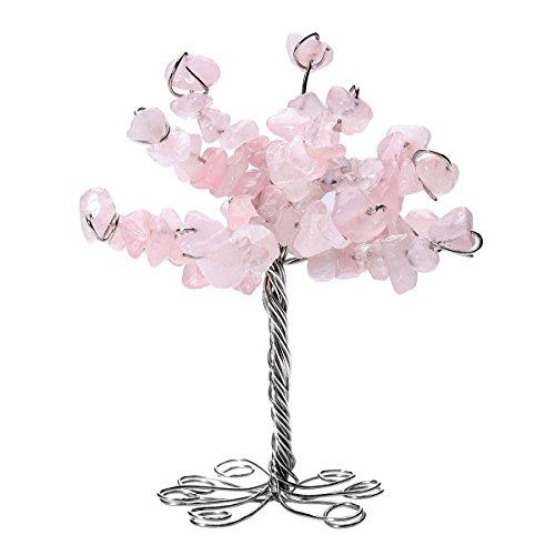 QGEM Natur Rosenquarz Edelstein Trommelsteine Glücksbaum Geldbaum im Büro Tisch Deko Feng Shui Healing Baum des Lebens Dekoration für Glück