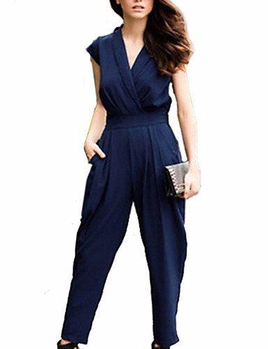 GSP-Combinaisons Aux femmes Sans Manches Décontracté Polyester Fin Micro-élastique royal blue-3xl