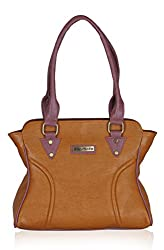 Fantosy Women's Handbag Tan and Purple (FNB-603)