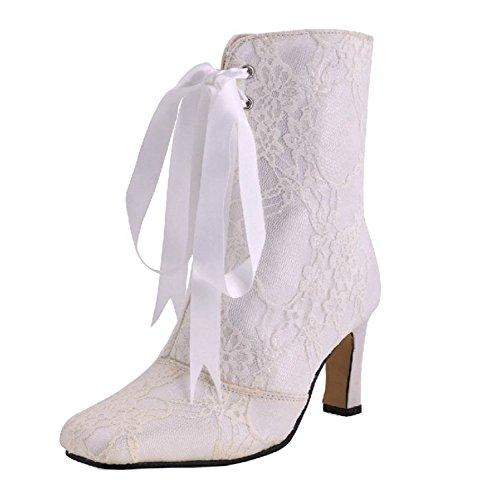 MINITOO ,  Damen Modische Hochzeitsschuhe, beige - Ivory-7.5cm Heel - Größe: 37.5 - Glitter Bow Flats Schuhe