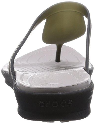 Crocs - Crocsárioáflipáw, Sandali Donna Nero (Black/Platinum)