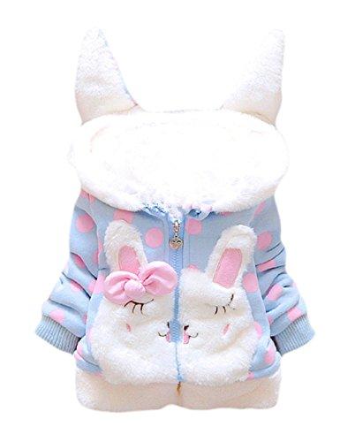 Tkria Baby Mädchen Mäntel -Jacken ,Winter Kinder Kapuzenjacke für Kaninchen Fleecefutter mit Bowknot Mantel für Kinder 0-3 Jahre Jacke