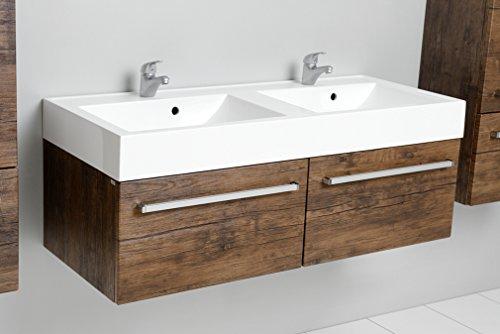 Quentis Doppelwaschplatz Zeno, Breite 120 cm, Waschplatz 3-teilig, Waschbeckenunterbau mit 2 Schubladen und Waschbecken, Front und Korpus Holzdekor antik
