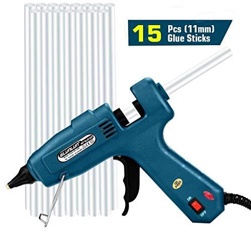 Glunlun 100W Heißklebepistole mit 15 Stück Klebesticks, Klebepistole für DIY kleine Handwerkprojekte und schnelle Reparaturen zuhause im Heimwerker &Handwerk