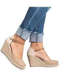 d9d285fc4520c Minetom Femme Mode Sandale Espadrille Lanière Cheville Sandale Talon  Compensé Plateforme Femme Été ...