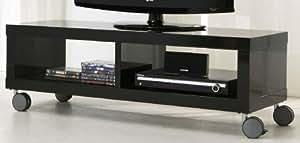 Meuble tV design 120 x 40 cm-avec tV, hifi noir brillant