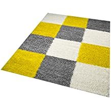 Merinos Shaggy Teppich Hochflor Langflor Teppich Wohnzimmer Teppich  Gemustert In Karo Design Gelb Grau Cream Größe