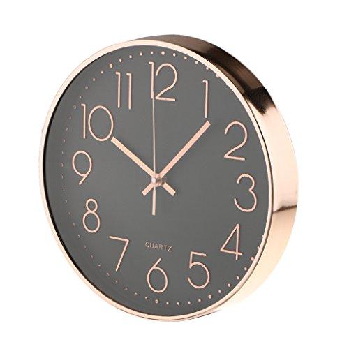Unbekannt 12 Zoll Klassische Quarz Wanduhr Quarzuhr Analog Uhr Für  Wohnzimmer Büro   Rose Gold + Schwarz Basis