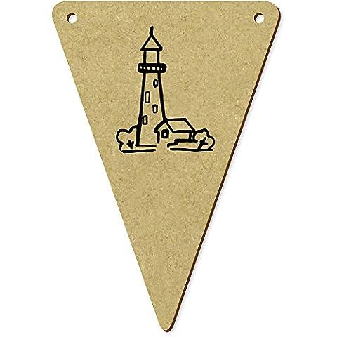 5 x 100mm 'Leuchtturm' Wimpel / Banner aus Holz (BN00029744)
