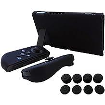 Hikfly Gel de Silicona Agarre Antideslizante Kits de Protección Carcasas Cubrir Piel para Nintendo Switch Consolas y Joy-Con Controlador Con 8pcs Gel de Silicona Empuñaduras Gorras (Negro)