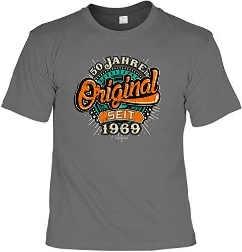 Herren Geburtstag T-Shirt 50 Jahre - Original seit 1969 - lustige Shirts für Männer grau Geschenk Set mit Mini Flaschenshirt - 50 Jahre T-shirt