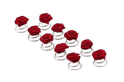 10 Roses Pins - accessoires de cheveux de mariée - spirale Epingle Curlie - Set Bordeaux rouge