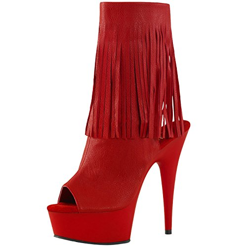 Peep Toe Stiefelette, Damen, Rot (rot) Rot (Rot)