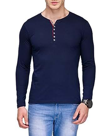 TSX Men's Cotton Henley T-Shirt, Blue, XX-Large