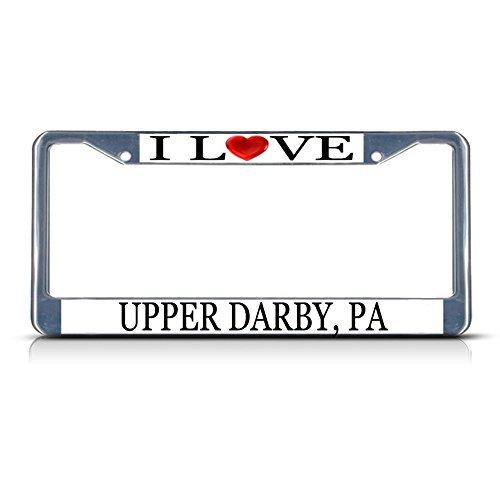 Darby Metall (Nummernschild Rahmen I LOVE Herz oberen Darby PA Aluminium Metall Nummernschild Rahmen silber)