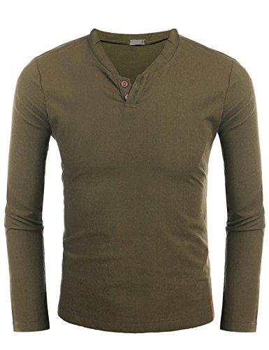 Zeela Herren Stehkragen Leinen Hemd Slim Fit Casual Langarmshirt Shirts Oberteile Armeegrün