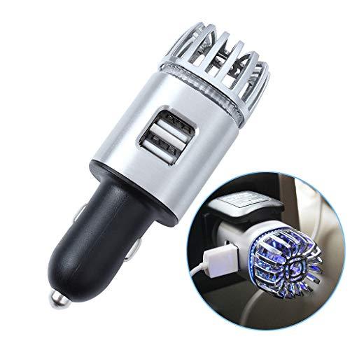 EFORCAR Purificatore d'aria per auto ionico - Deodorante per auto con ionizzatore luce LED blu e 2 prese per porte USB Rimuovi odore di cattivo odo