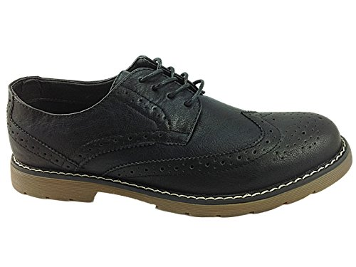 Mens Black LS30 Leather Lined Lace Up Brogue Smart Work Shoe Size 7