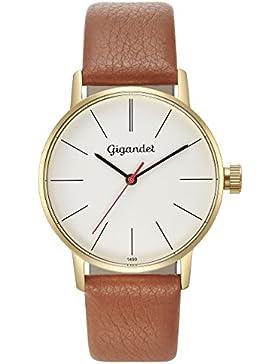 Gigandet Damen-Armbanduhr Minimalism Quarz Uhr Analog Lederarmband Gold Braun G43-010