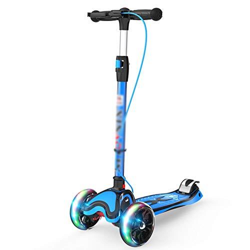 Kinderscooter, 3 Wheels Kick Scooter mit PU Light-Up Wheels und verstellbaren Griffen, Leichtbau (Color : Blue)