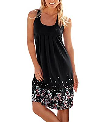 Flying Rabbit Women's Summer Dress Printing Knielang Sleeveless Round Collar A-Line Beach Dress Loose Summer Dress (s, black)