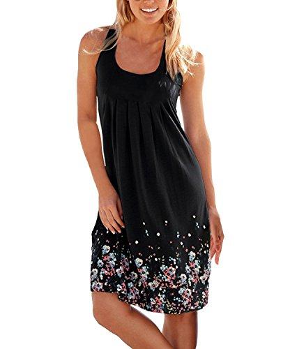Flying Rabbit Women's Summer Dress Printing Knielang Sleeveless Round Collar A-Line Beach Dress Loos
