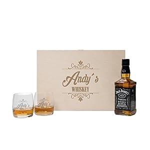 FORYOU24 2 Whiskeygläser mit Holzbox und Gravur Whiskey + Jack Daniels Old No.7 Whiskey Whisky-Set graviert