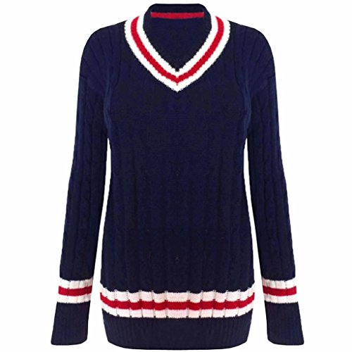 Unisex Gr. V Neck Cable Knit Pullover Cricket Sweater, Gr. 16-26, Elfenbein - Navy, 46/48 (V-neck Cable Knit Sweater)