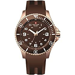 Swiss Alpine Military Red Force 7036.1866SAM Reloj Suizo Caja de Acero Recubierto Pvd Rosa Esfera Color Chocolate Correa de Caucho Color Chocolate