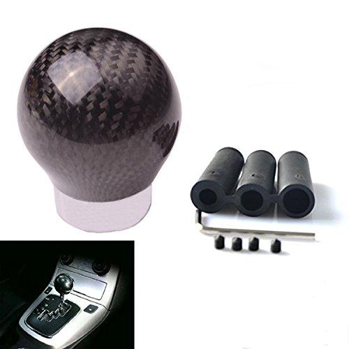 SMKJ Auto Schaltknauf Carbon Fiber Kugel Schaltknüppel Gear Shifter Knob Universal für most Fahrzeuge ohne Rückwärtsgangarretierung (Schwarz) -