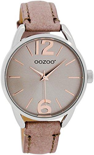 Oozoo Damen-/ Kinderuhr mit Lederband 38 MM Silbergrau/Pinkgrau JR281